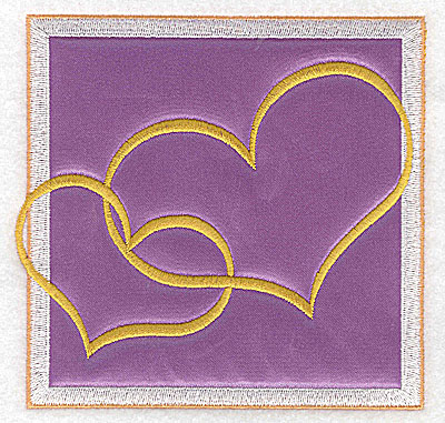 Embroidery Design: Valentine applique two hearts large 4.96w X 4.81h