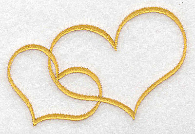 Embroidery Design: Two hearts 3.52w X 2.67h