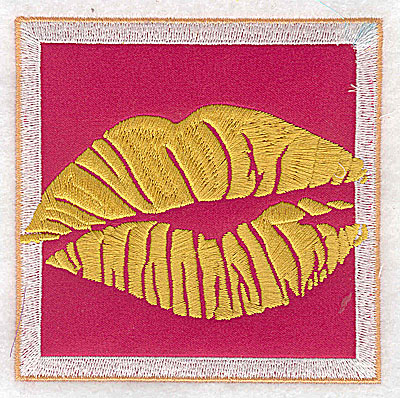 Embroidery Design: Valentine applique kissing lips large 3.87w X 3.87h