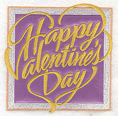 Embroidery Design: Valentine applique Happy Valentine's Day small 3.75w X 3.85h