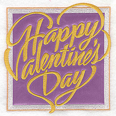 Embroidery Design: Valentine applique Happy Valentine's Day large 4.84w X 4.96h