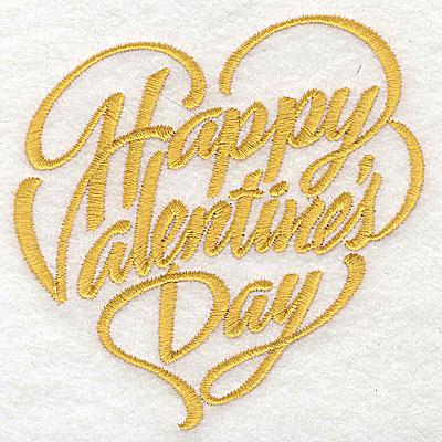 Embroidery Design: Happy Valentine's Day 3.75w X 3.85h