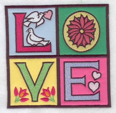 Embroidery Design: LOVE 4 appliques 4.96w X 4.97h