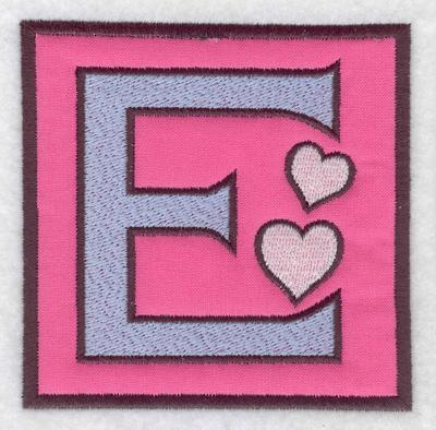 Embroidery Design: E applique 3.88w X 3.88h