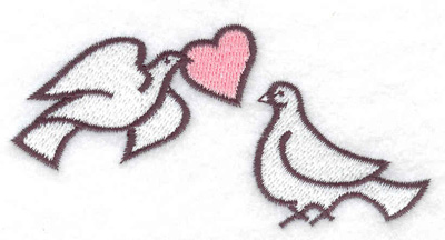 Embroidery Design: Doves with heart 3.87w X 1.93h