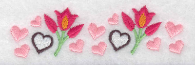 Embroidery Design: Row of hearts and flowers 3.77w X 1.11h