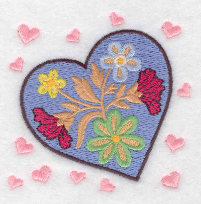 Embroidery Design: Heart with flowers 3.12w X 3.11h