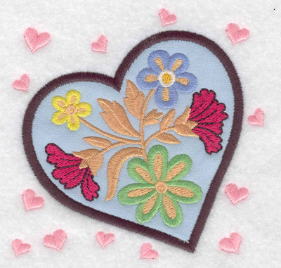 Embroidery Design: Heart applique with flowers 3.88w X 3.88h