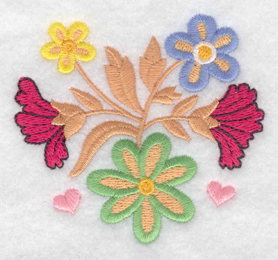 Embroidery Design: Flowers and hearts 3.29w X 3.01h