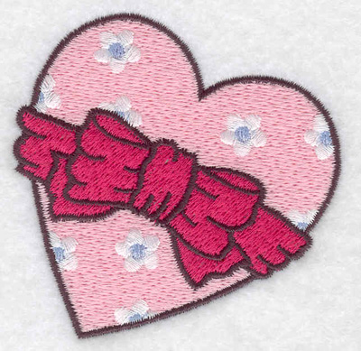 Embroidery Design: Heart with bow 2.94w X 2.92h