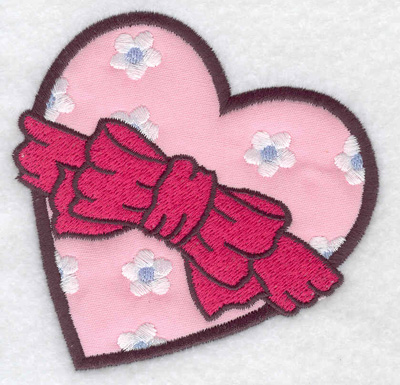 Embroidery Design: Heart applique with bow 3.89w X 3.86h