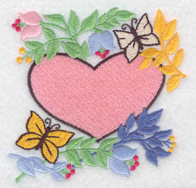 Embroidery Design: Heart flowers and butterflies 3.63w X 3.51h