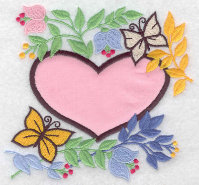 Embroidery Design: Heart applique flowers and butterflies 4.98w X 4.79h