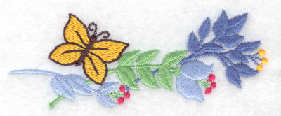 Embroidery Design: Butterfly and flowers small 3.86w X 1.51h