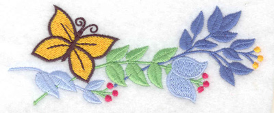 Embroidery Design: Butterfly and flowers large 4.97w X 2.01h
