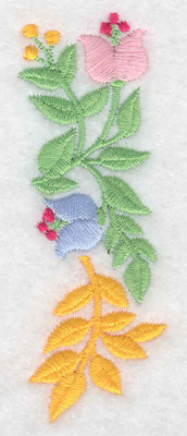 Embroidery Design: Flowers vertical small 1.27w X 3.52h