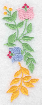 Embroidery Design: Flowers vertical large 1.76w X 4.83h