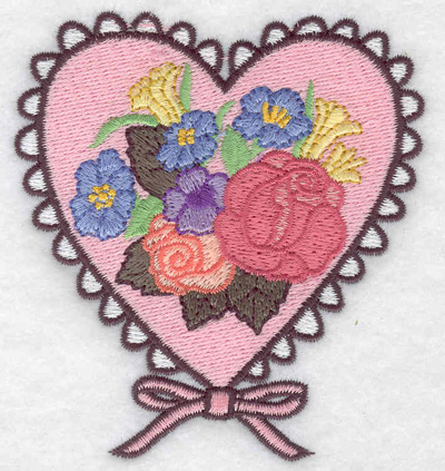 Embroidery Design: Doiley heart with flowers 3.30w X 3.58h
