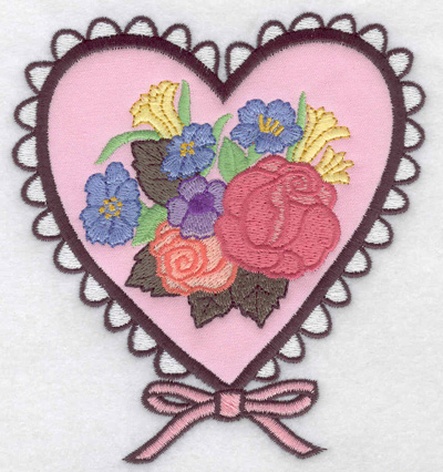 Embroidery Design: Doiley heart applique with flowers 4.63w X 4.99h