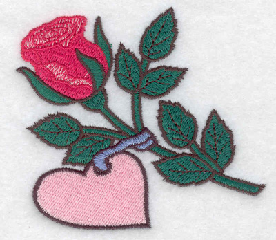 Embroidery Design: Rose with heart small 3.60w X 3.24h