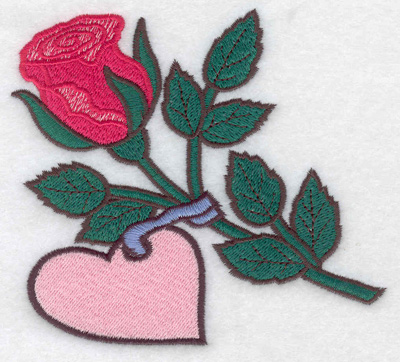 Embroidery Design: Rose with heart large 4.78w X 4.31h