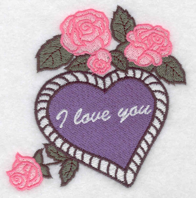 Embroidery Design: I love you heart and roses 3.50w X 3.81h