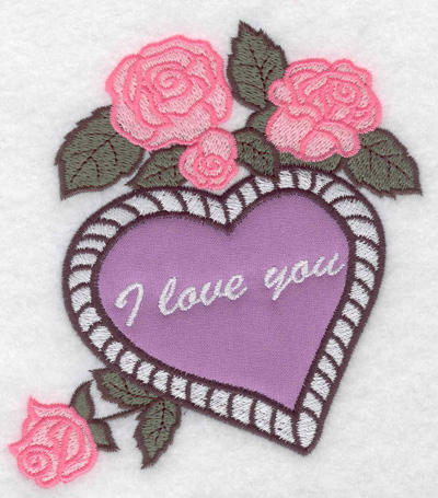 Embroidery Design: I love you heart applique and roses 4.54w X 4.94h