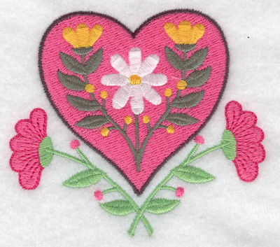 Embroidery Design: Floral heart 3.46w X 3.11h