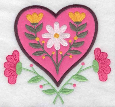 Embroidery Design: Floral Heart applique 4.95w X 4.68h