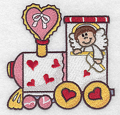 Embroidery Design: Locomotive train with cupid small 3.89w X 3.89h