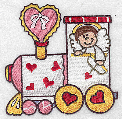 Embroidery Design: Locomotive train with cupid large 4.97w X 4.98h