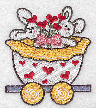 Embroidery Design: Train with bunnies small 3.28w X 3.78h