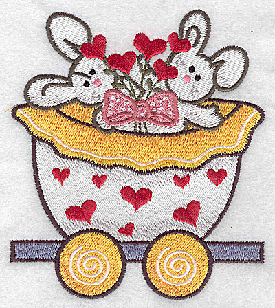 Embroidery Design: Train with bunnies large 4.19w X 4.83h
