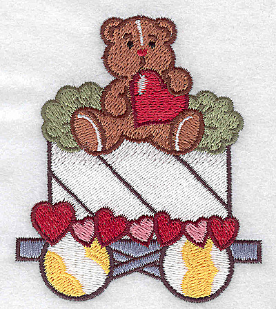 Embroidery Design: Train with teddy small 3.01w X 3.51h