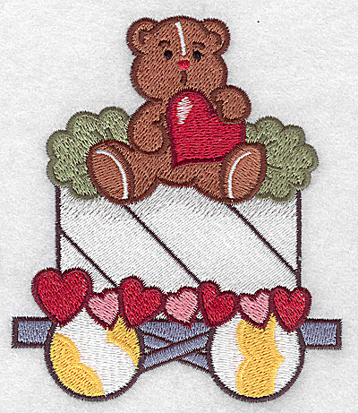 Embroidery Design: Train with teddy large 3.85w X 4.49h
