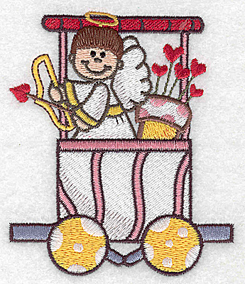 Embroidery Design: Train with cupid bow and arrows small 3.30w X 3.89h