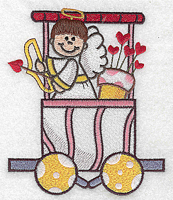 Embroidery Design: Train with cupid bow and arrows large 4.23w X 4.98h