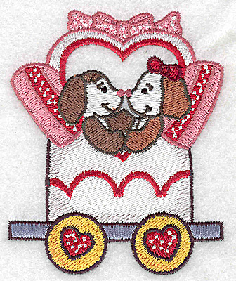 Embroidery Design: Train with puppies small 3.15w X 3.88h