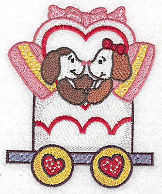 Embroidery Design: Train with puppies large 4.02w X 4.96h