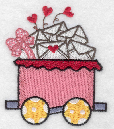 Embroidery Design: Train with Valentine cards small 3.22w X 3.78h