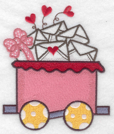 Embroidery Design: Train with Valentine cards large 4.11w X 4.83h