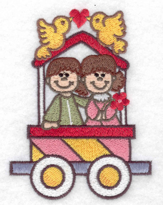 Embroidery Design: Train with love birds small 2.87w X 3.84h