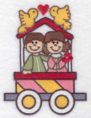 Embroidery Design: Train with love birds large 3.66w X 4.91h