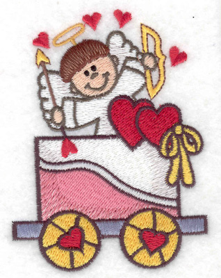Embroidery Design: Train with cupid small 2.88w X 3.84h