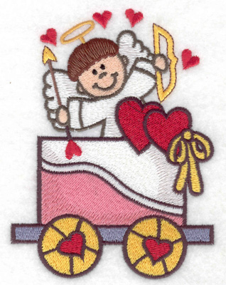 Embroidery Design: Train with cupid large 3.68w X 4.91h