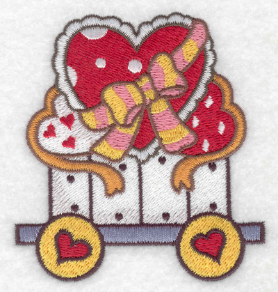 Embroidery Design: Train with hearts small 3.30w X 3.55h