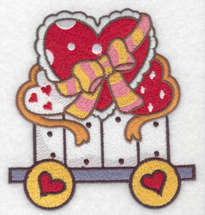 Embroidery Design: Train with hearts large 4.22w X 4.54h