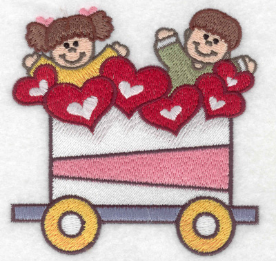 Embroidery Design: Train with children and hearts small 3.81w X 3.86h