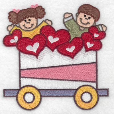 Embroidery Design: Train with children and hearts large 4.87w X 4.94h