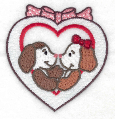 Embroidery Design: Puppies in heart 3.36w X 3.51h